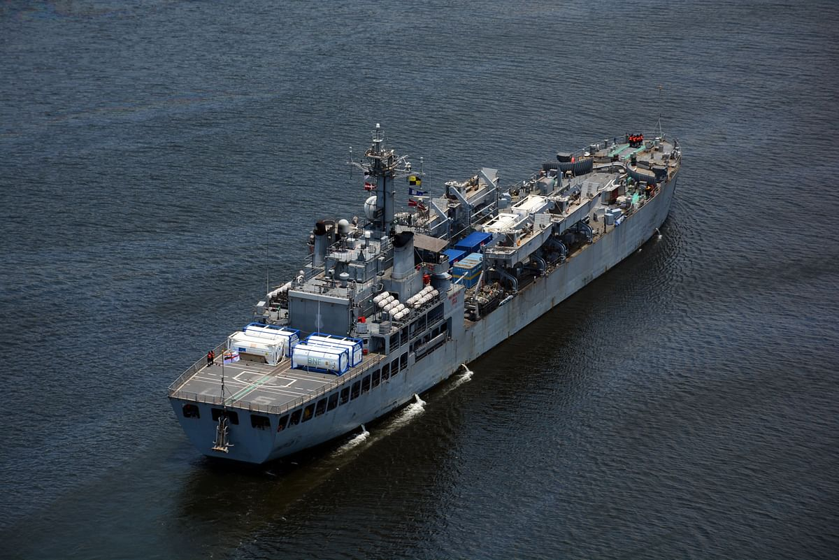 Three Indian Naval Ships Arrive With Liquid Medical Oxygen, Critical Medical From Singapore, Kuwait, And Qatar