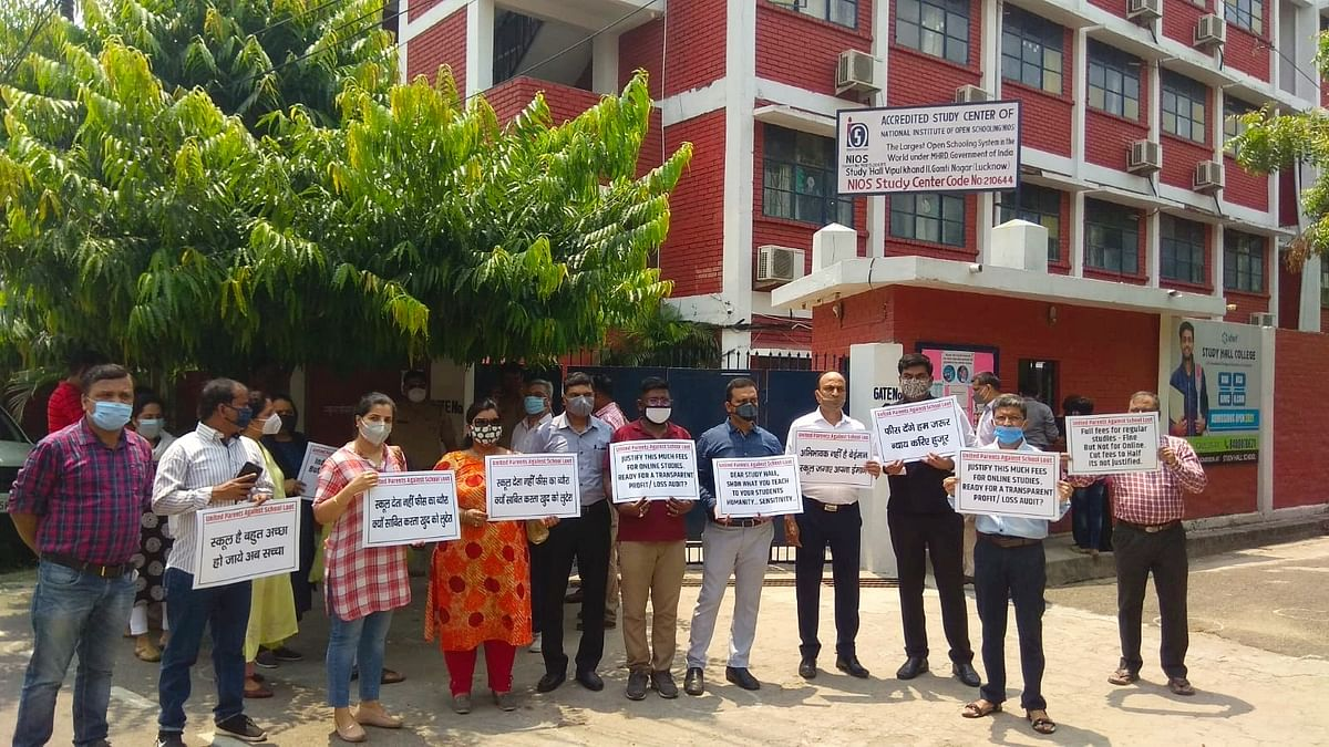 Parents Protest Outside Study Hall School In Lucknow, Seek Rethink On Fees Structure