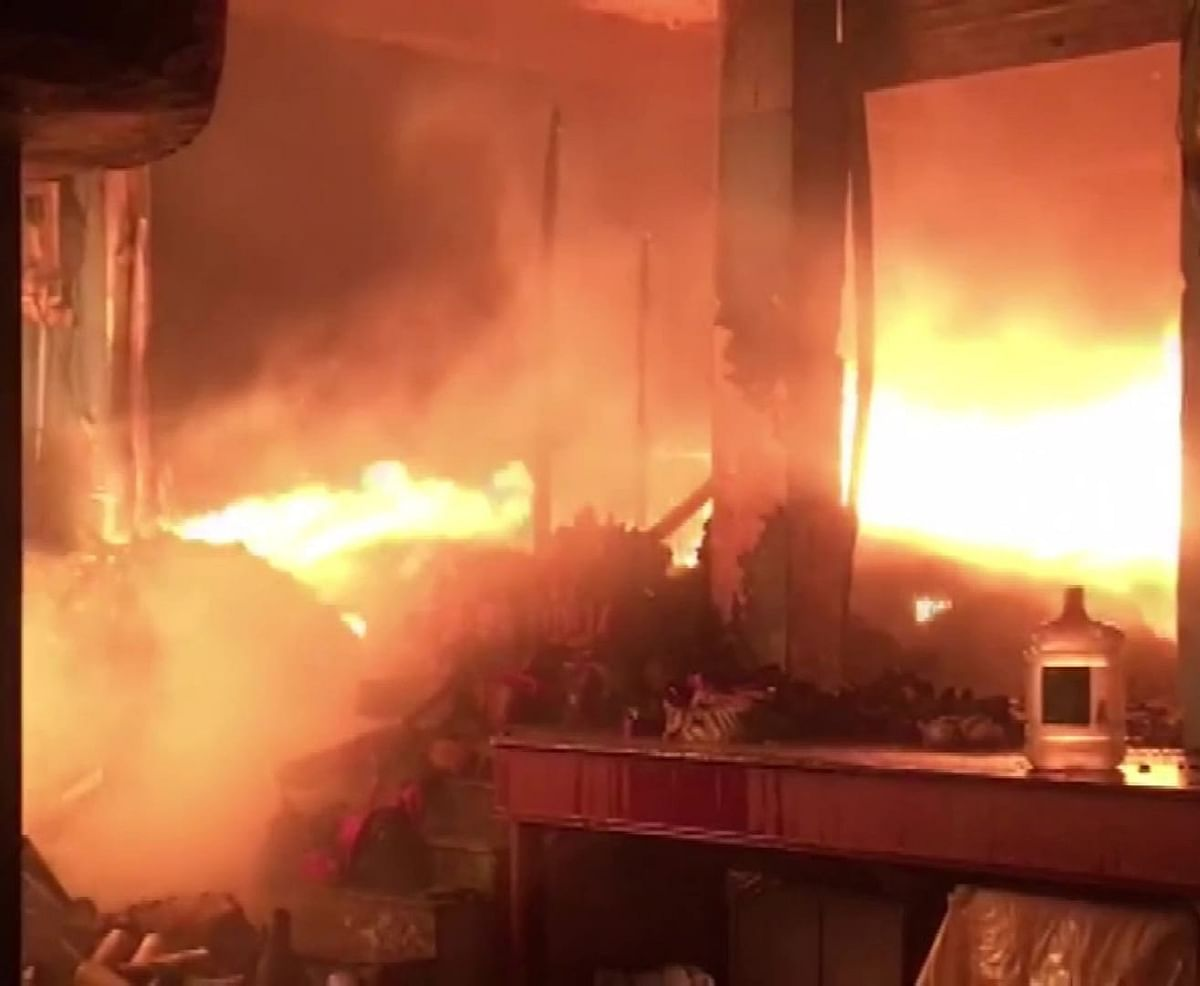 Massive Fire In Shri Krishna Oyo Hotel At Dwarka In New Delhi Kills Two
