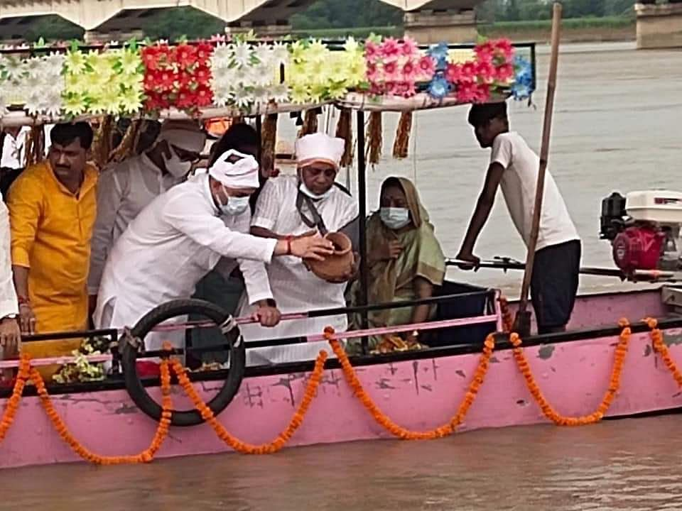 Ashes Of Kalyan Singh Immersed In Saryu River At Ayodhya
