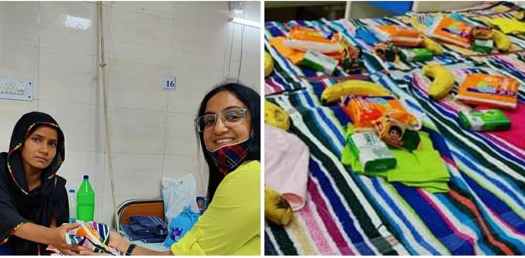 झलकारी बाई अस्पताल में नवजात बच्चों को बाँटे गए हाइजीन किट