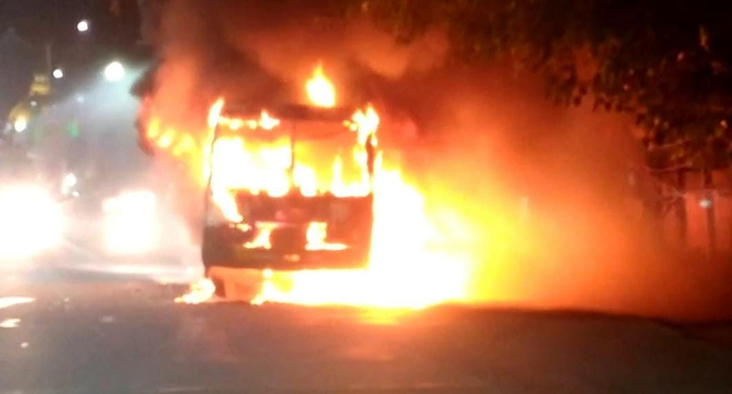 Bus Catches Fire In Lucknow At Midnight, Completely Gutted