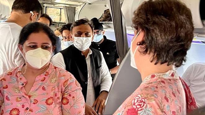 Akhilesh Yadav, Priyanka Gandhi Have Chance Meeting On Flight, Photos Go Viral