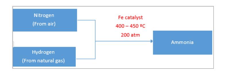 Nitrogen fixation by Haber-Bosch process