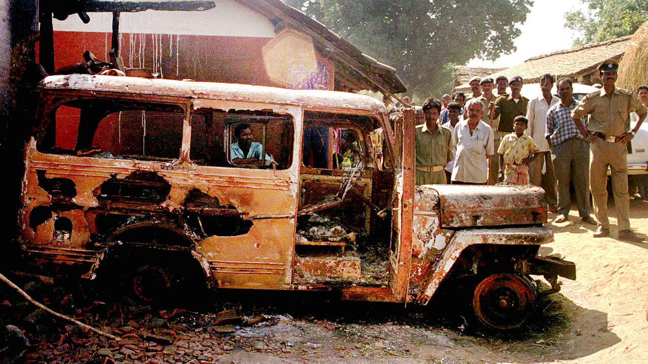 The burnt vehicle in which Graham Staines and his sons were killed on 22 January 1999.