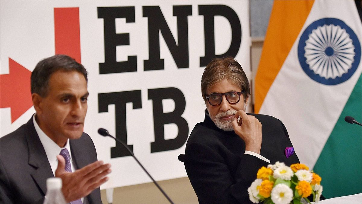File photo of Bollywood actor Amitabh Bachchan and US Ambassador to India Richard Verma during a press briefing on the US governments commitment to end TB.