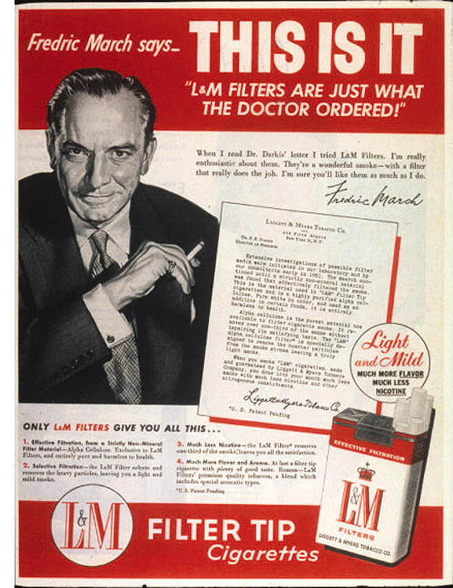 """Actor Fredric March in an advertisement for L&amp;M Filters.  (Photo Courtesy: US <a href=""""https://www.ncbi.nlm.nih.gov/pmc/articles/PMC1470496/figure/f6/"""">National Library of Medicine</a>)"""