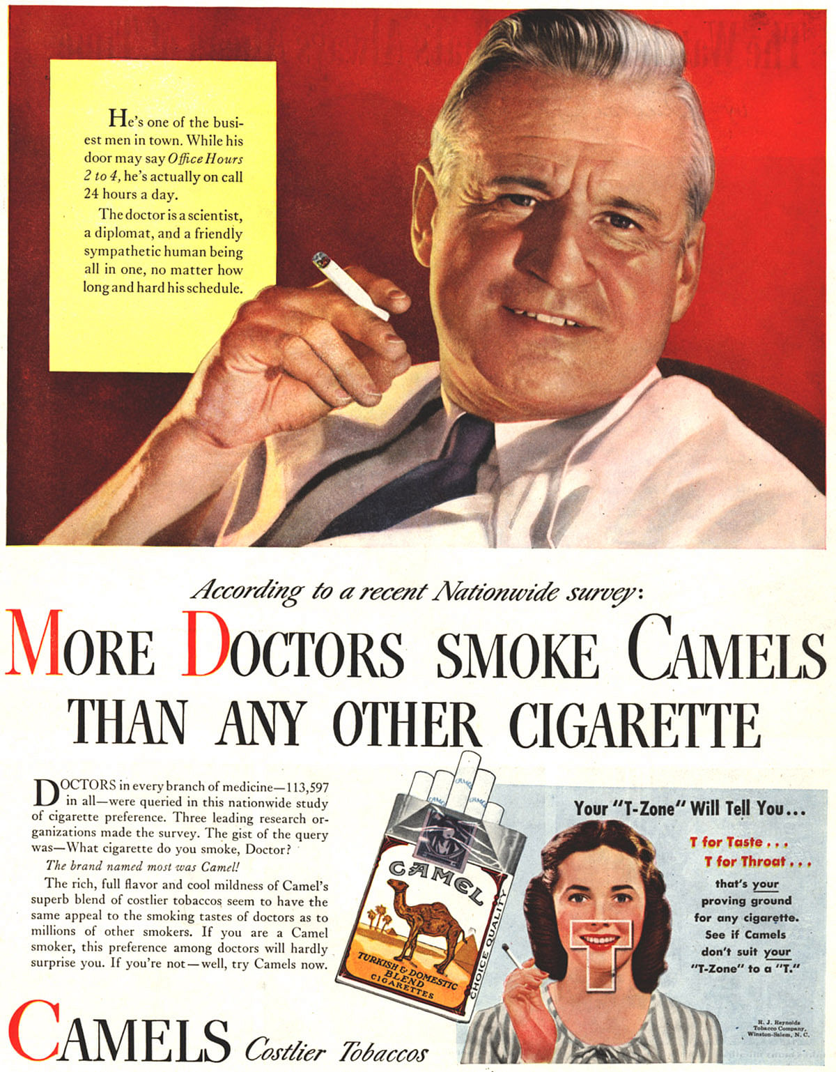 """The Camel cigarette advertisement that showed a 'doctor' endorsing the product. (Photo: <a href=""""https://in.pinterest.com/pin/347832771190670536/"""">Pinterest)</a>"""
