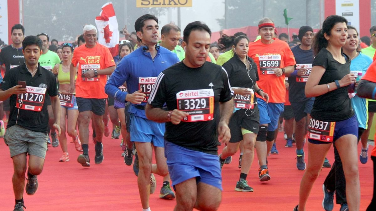 Participants running during the Airtel Delhi Half Marathon in 2016.