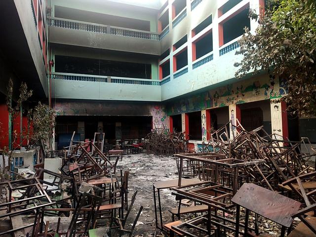 School burnt  in Shiv Vihar in northeast Delhi.