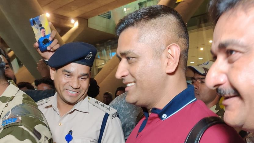 Image result for dhoni at chennai airport