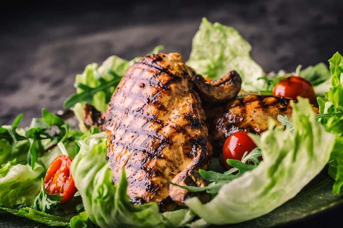 Chicken is a good source of moderate protein.