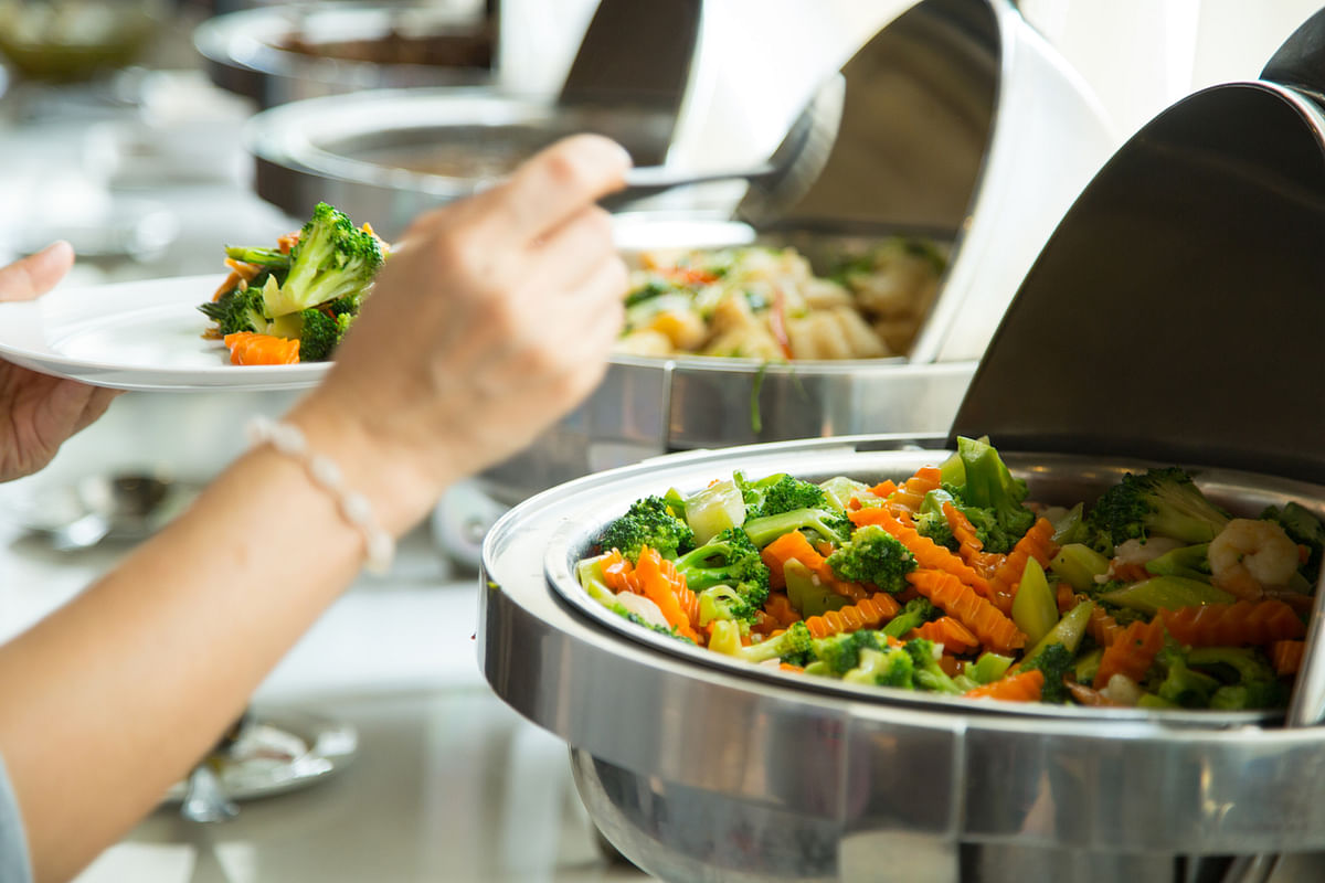 An array of colorful salads is always the first thing you see when you enter the cafeteria.