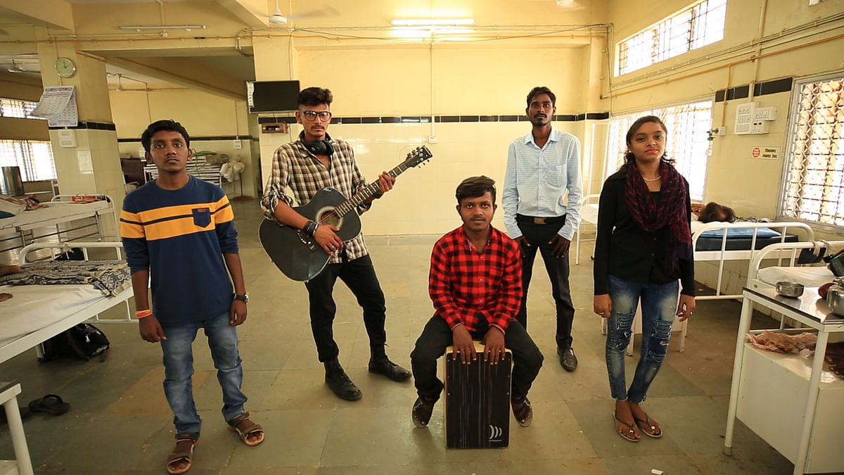 Core members of Band-Aid prepare to play for TB patients at Mumbai's Sewri Hospital.