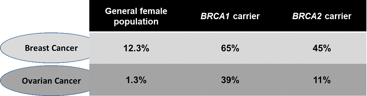 Table 1: Lifetime risk of developing Breast and Ovarian Cancer in BRCA1/2 mutation carriers and non-carriers