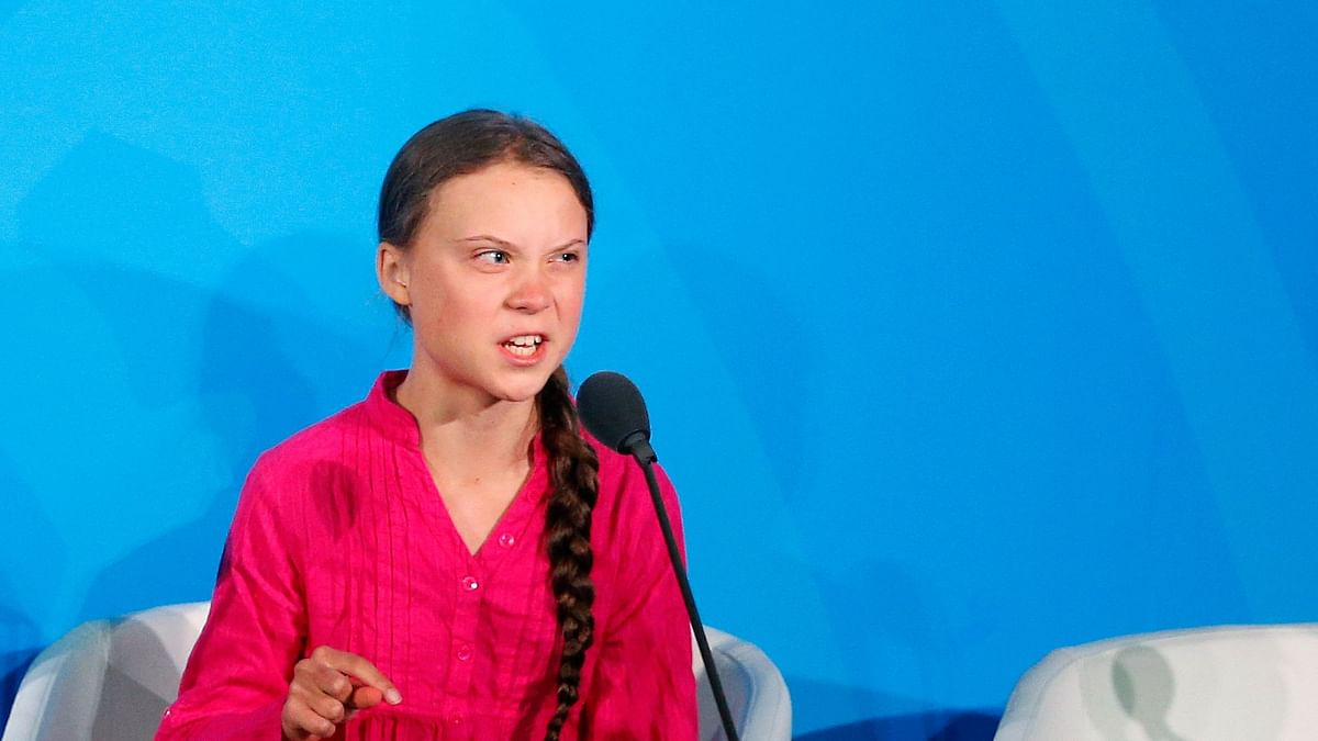 """""""How dare you,"""" says environmental activist Greta Thunberg, of Sweden, at the Climate Action Summit in the United Nations General Assembly, at U.N. headquarters, Monday, 23 September, 2019"""