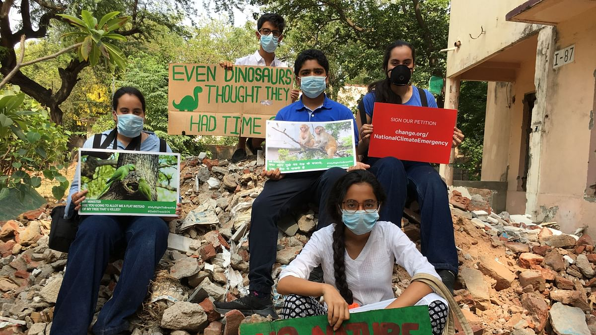 Children from Delhi took to the streets to protest against climate change and air pollution