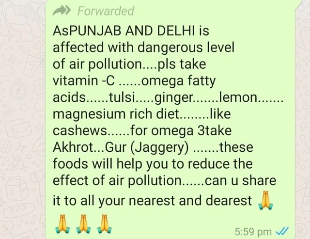 WhatsApp forward stating that certain foods can be helpful in reducing the damage from polluted air.