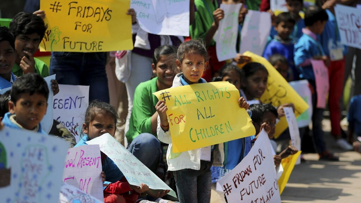 Children from different parts of India join the movement to demand action agains climate change.