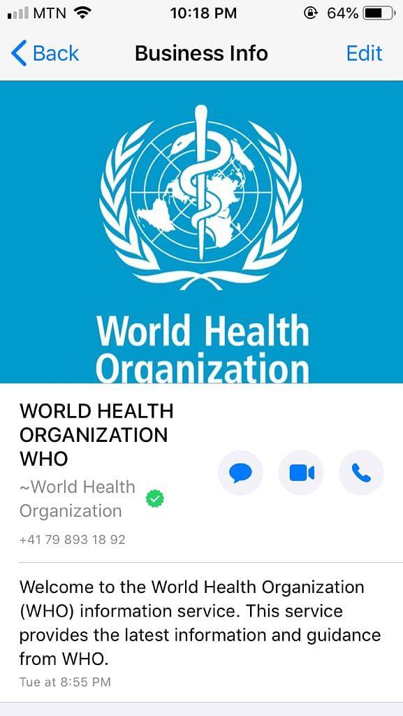 WHO 'Health Alert' Brings COVID-19 Information on WhatsApp