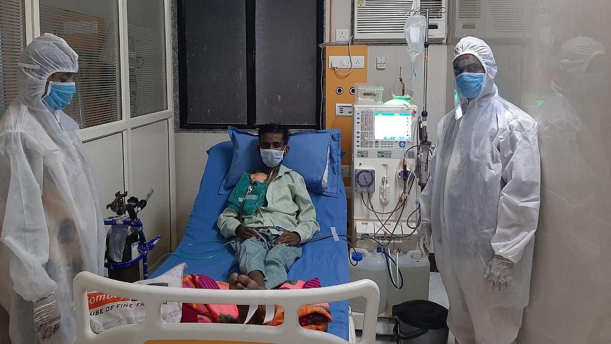 A patient undergoing dialysis at the Bhiwandi Dialysis Centre near Mumbai.
