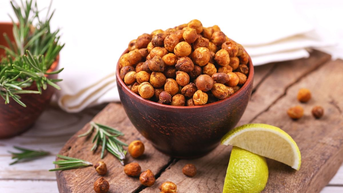 Roasted Chickpeas is a tasty snack which goes well with drinks and salads
