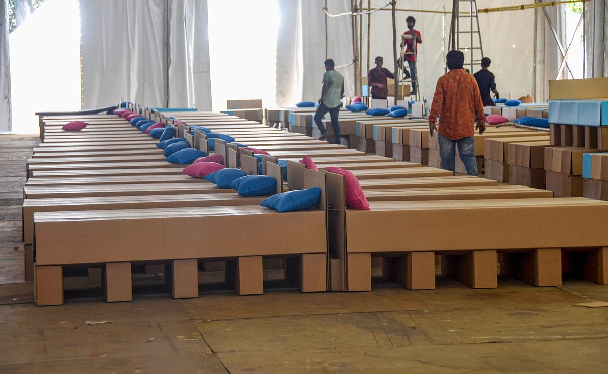 Paper-box beds are seen at an under construction quarantine facility for COVID-19 patients, at Dharavi in Mumbai on 3 May.