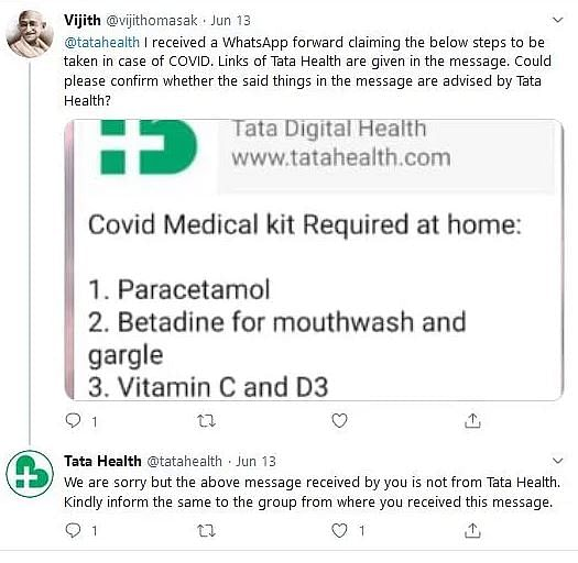 FIT WebQoof: No, Tata Health Didn't Share 'COVID Medical Kit' List