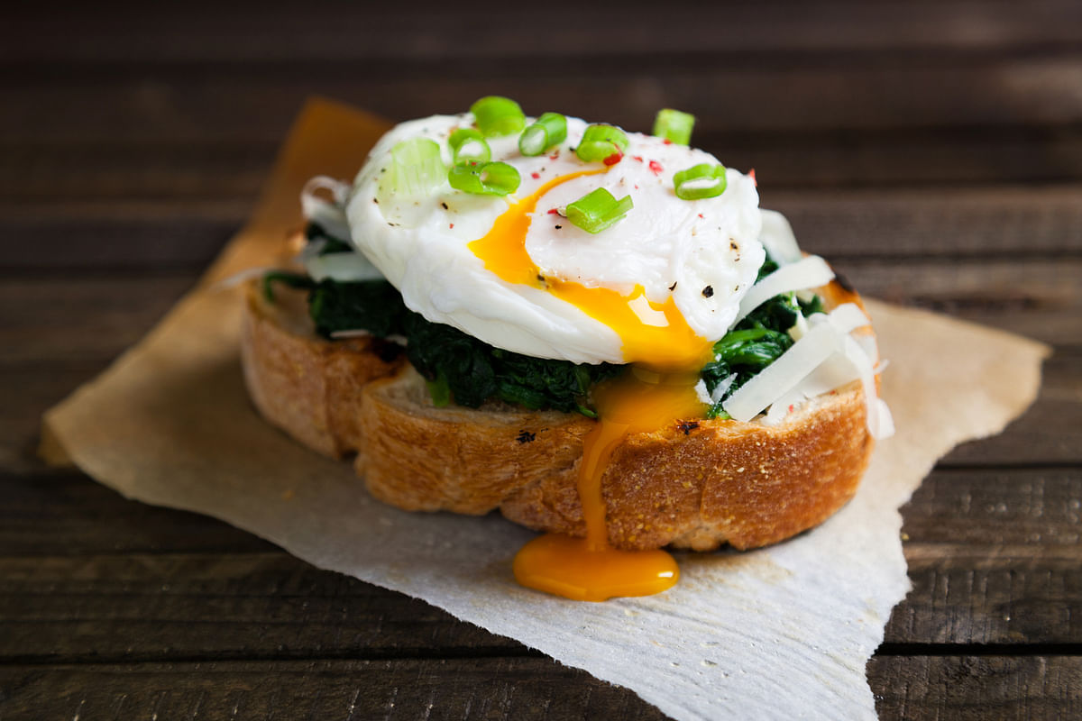 Spinach and egg on toast.