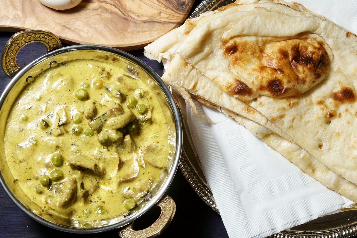 Mushroom and peas curry.