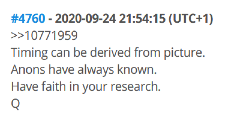 Sample of a Q drop from 8kun message board.