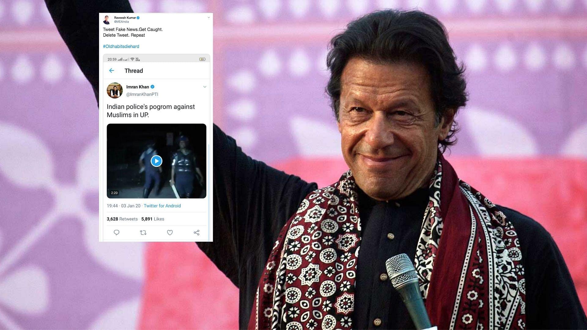 'Old Habits Die Hard': MEA Slams Pak PM Imran Khan for 'Fake News'