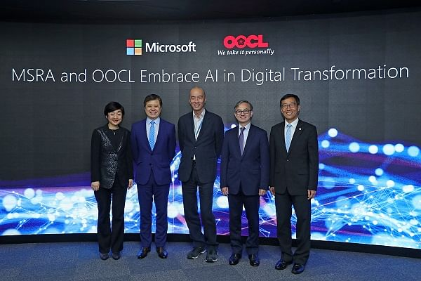 <em>(L-R) </em><em>Cally Chan, General Manager of Microsoft Hong Kong; Dr. Hsiao-Wuen Hon, Corporate Vice President of Microsoft, Chairman of Microsoft's Asia-Pacific R&amp;D Group, and Managing Director of MSRA; Steve Siu, Chief Information Officer of OOCL and Chief Executive Officer of CargoSmart; Dr. David Chung, JP, Under Secretary for Innovation and Technology of Hong Kong Special Administrative Region and Albert Wong, Chief Executive Officer of Hong Kong Science and Technology Parks Corporation</em>