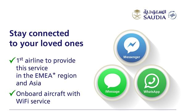 SAUDIA Introduces Free 'Social Messaging'