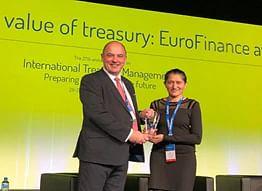 Head of Finance for Maersk Line UAE, Oman & Qatar, Nishat Deshmukh (R) receiving the EuroFinance award