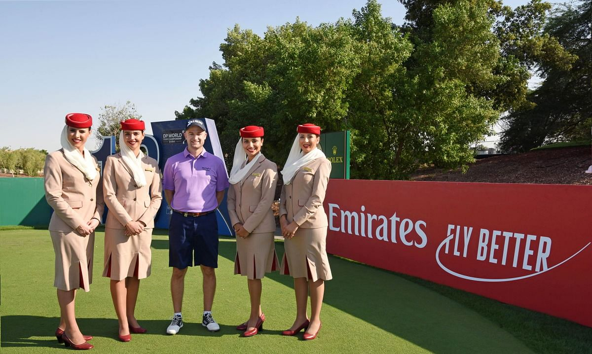 Players have posed with Emirates staff before the tournament