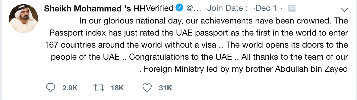 HH Sheikh Mohammed commented gleefully on the news