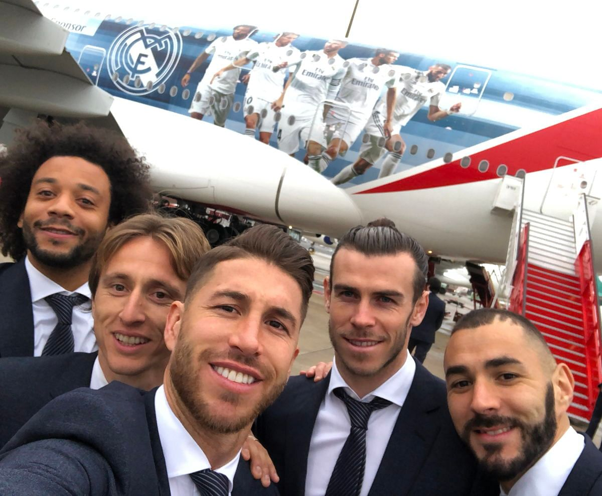 Real Madrid players (from left to right) Marcelo, Luka Modric, Sergio Ramos, Gareth Bale and Karim Benzema take a selfie in front of the special A380