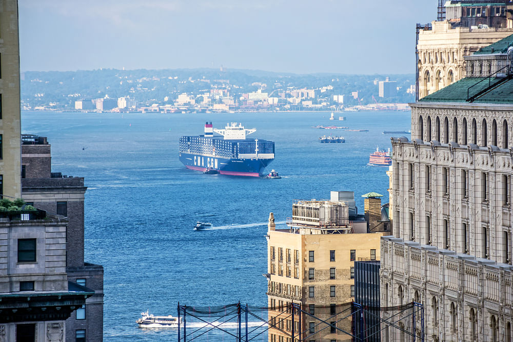 A CMA CGM vessel coasting into New York