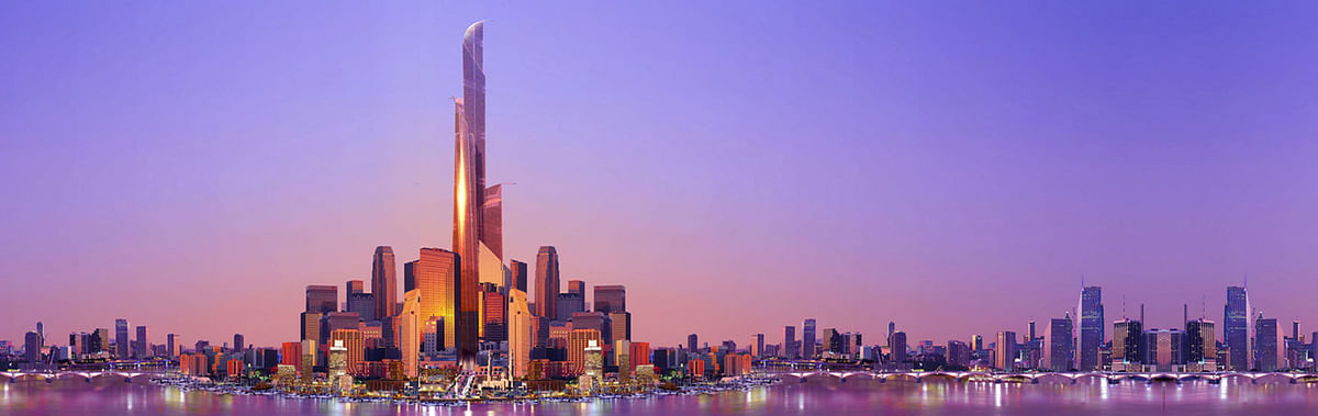 An animated rendering of the new city showing the Burj Mubarak Al Kabir Tower