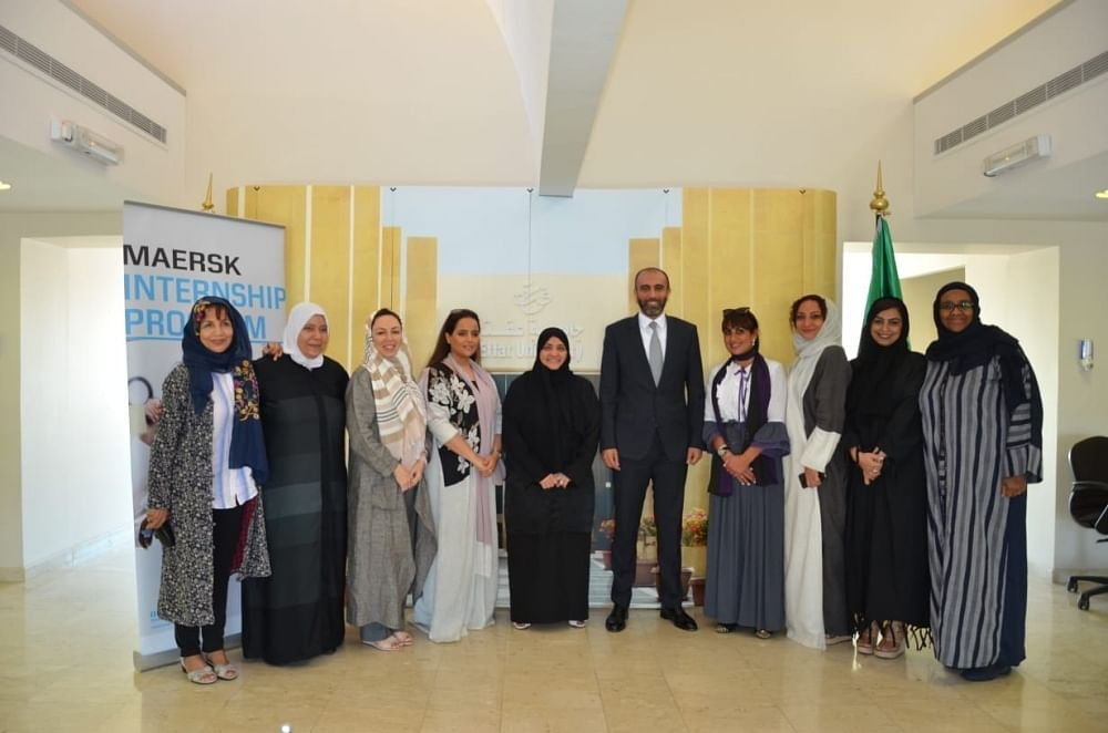 Dr. Haifa Jamal Allail with Maersk's Mohammed Shihab and students from Effat University