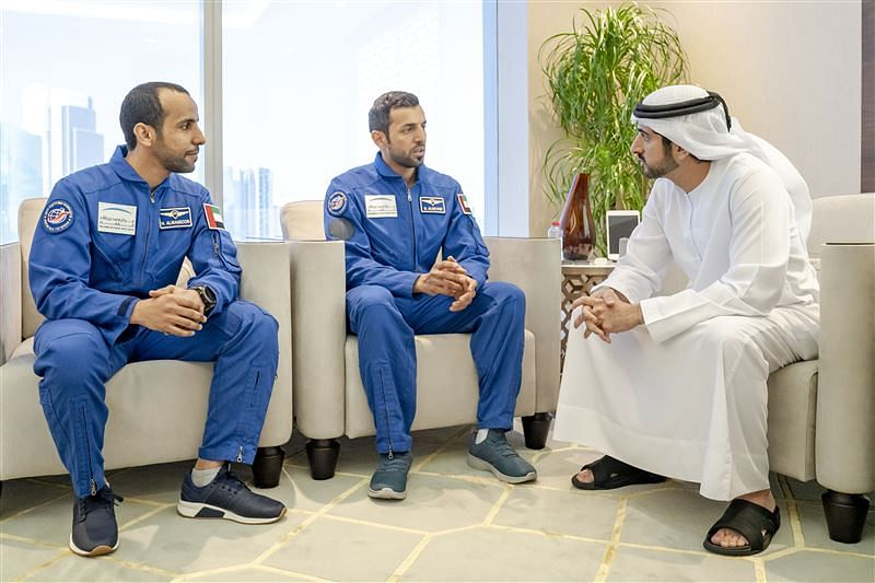 Crown Prince of Dubai and Chairman of the Mohammed bin Rashid Space Centre H.H. Sheikh Hamdan bin Mohammed bin Rashid Al Maktoum with Emirati astronauts Hazza Al Mansoori and Sultan Al Neyadi.