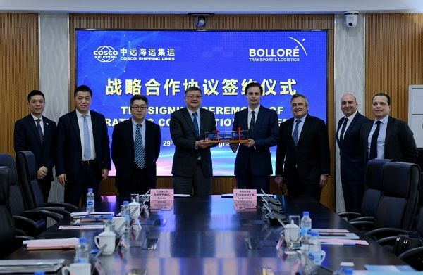 COSCO and Bollore at the signing of the MoU
