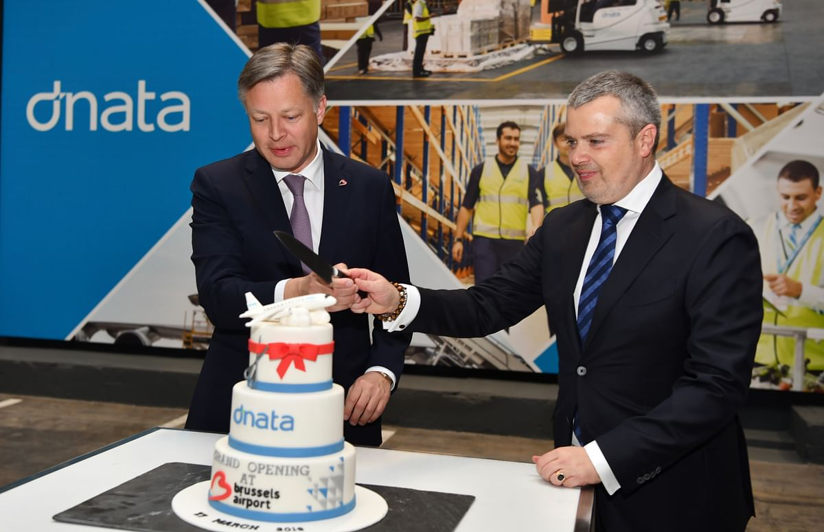 Arnaud Feist, CEO of Brussels Airport Company (L) and Erik de Goeij, Chief Executive Officer, dnata The Netherlands and Belgium at the inauguration.