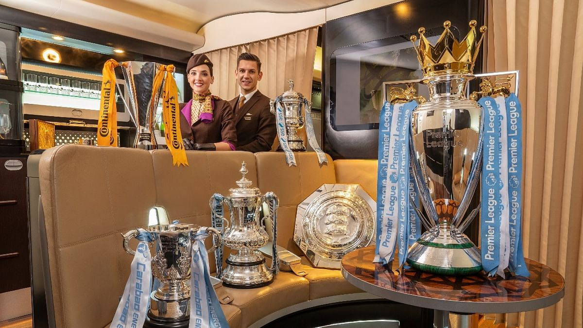 Etihad Airways Showcases Man City's Six Stunning Trophies