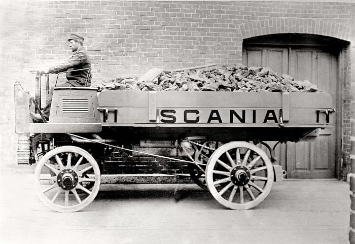 This image of one of the first ever Scania vehicles shows how the company is a core part of the journey of transportation
