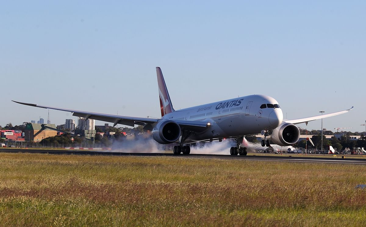 The aircraft touches down after a huge 19 hours in the air