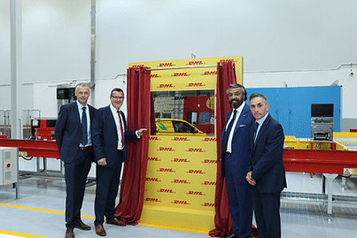 Mike Barrett, Vice President Operations, DHL Express UAE, Geoff Walsh, UAE Country Manager, DHL Express, Nour Suliman, CEO, DHL Express MENA, and Bachi Spiga, Vice President of Operations, DHL Express MENA, open the new facility
