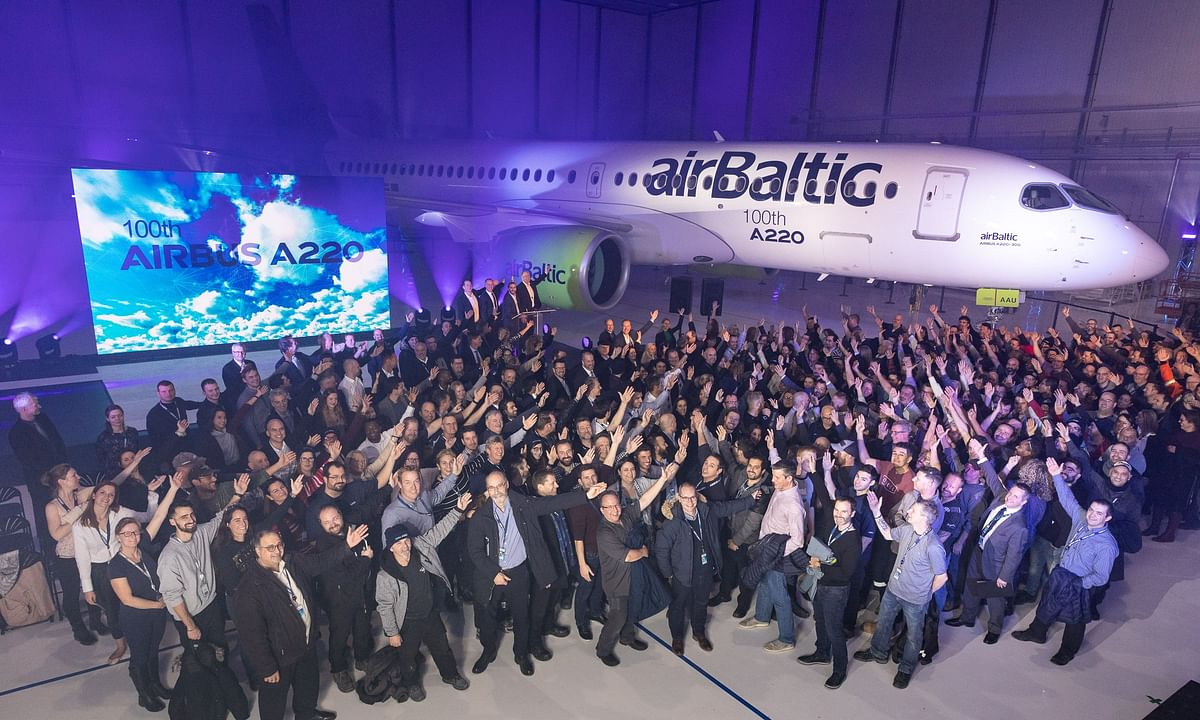 Airbus Celebrates  100th A220 Aircraft Produced