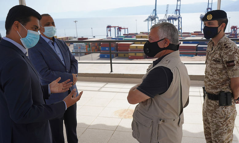 King of  Jordan Inspects Operations at Aqaba Container Terminal